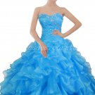 Impressive Turquoise Organza Ball Gown Quinceanera Dresses With Diamonds