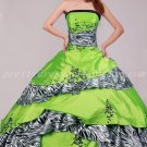 Stunning Lime Green And Zebra Quinceanera Dresses Corset Back