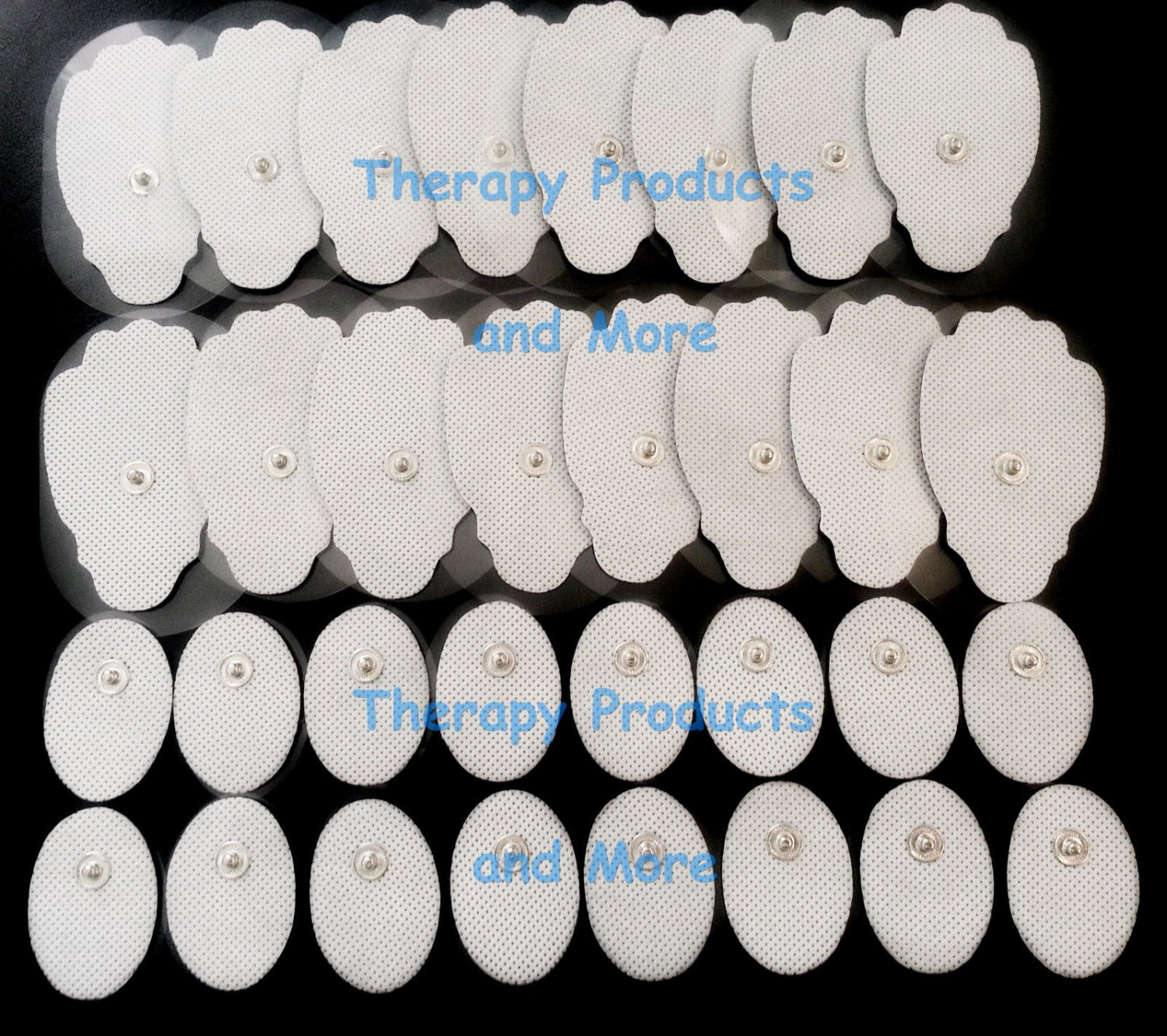 REPLACEMENT ELECTRODE PADS (16 LG + 16 SM OVAL) GEL STICKY THICK MASSAGE PADS