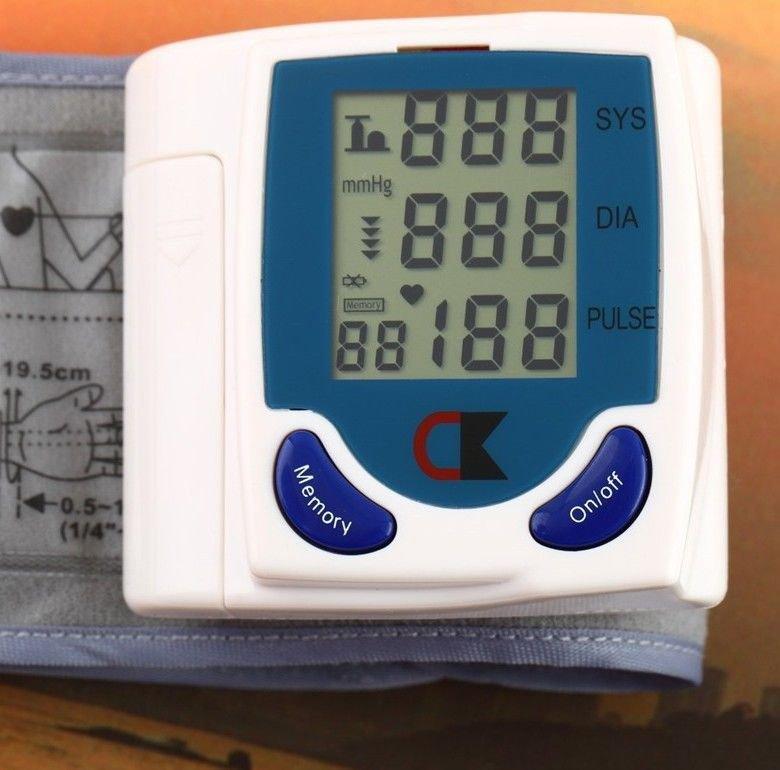 Professional Digital Automatic Blood Pressure Monitor Wrist Heart Beat Lcd Disp