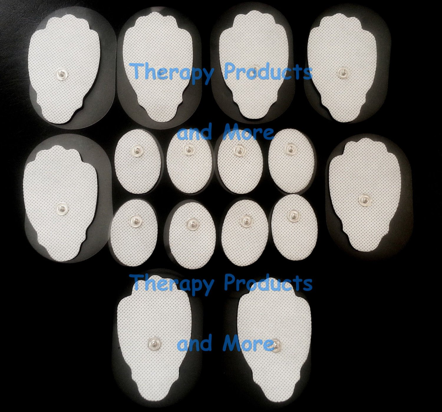 REPLACEMENT ELECTRODE PADS COMBO (8 LG, 8 SM OVAL) FOR AURAWAVE DIGITAL MASSAGER