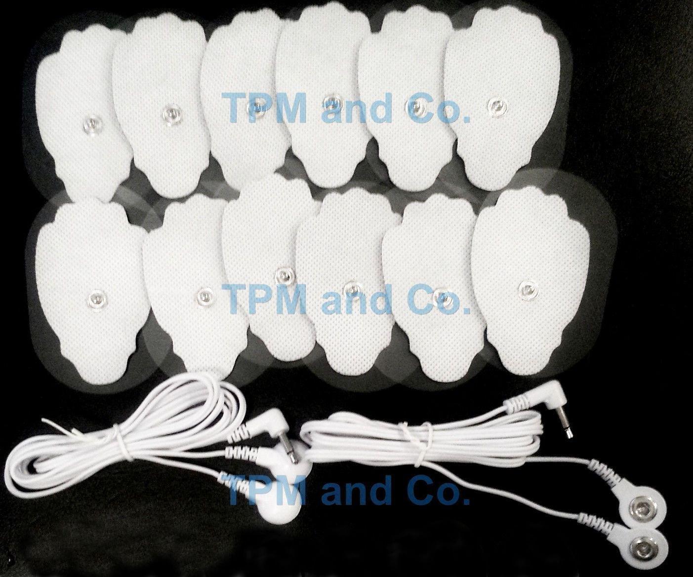 2 ELECTRODE LEAD CABLES(3.5mm Plug)+12 LARGE MASSAGE PADS FOR DIGITAL MASSAGER