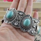 Womens Antique Vintage silver turquoise retro tribal style cuff bangle bracelet