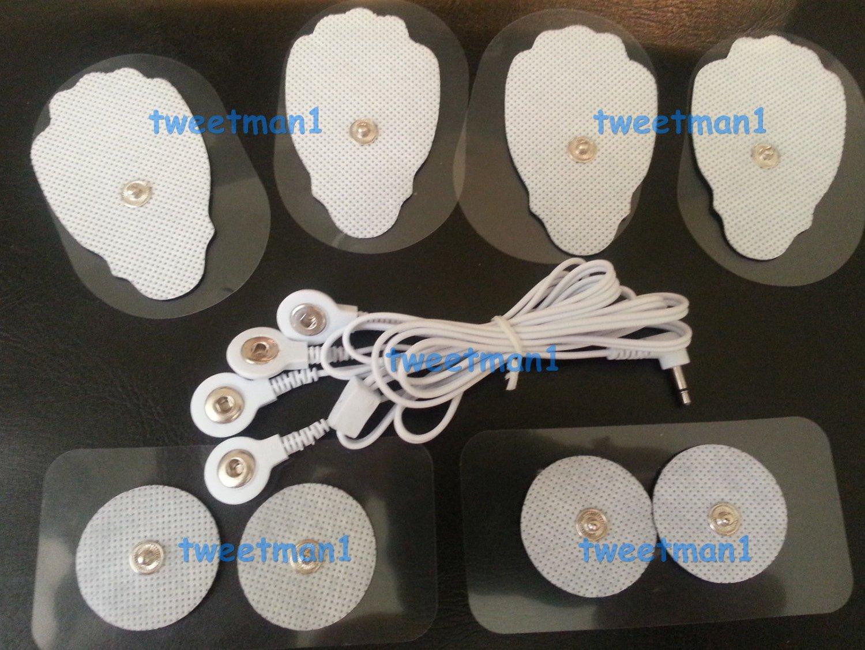ELECTRODE LEAD CABLE (2.5mm Plug) + MASSAGE PADS COMBO(4 LG, 4 SM PADS, + CABLE)
