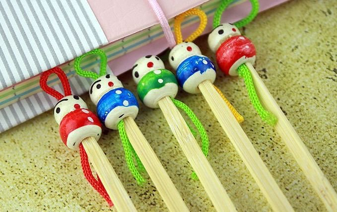 Japanese Handmade Bamboo Earpick (15 Pcs) Clean Wax Removers with Doll Heads