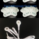 OMRON COMPATIBLE ELECTRODES MASSAGE PADS (16) WITH 3.5mm QUAD 4 SNAP LEAD CABLE
