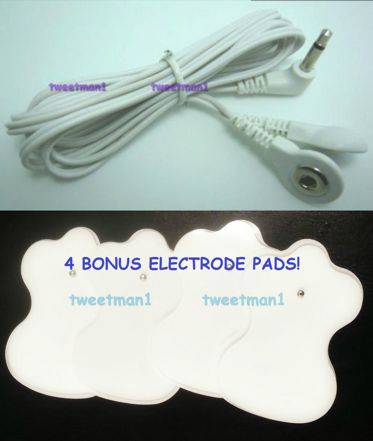 +BONUS PADS!+ ELECTRODE LEAD WIRE Cable 3.5mm for Digital Massager TENS Snap