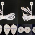 2 ELECTRODE LEAD CABLES (3.5mm)+ 4LG + 4SM PADS compatible w /EROSTEK ESTIM UNIT