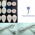 2 TENS CABLES(3.5mm PLUG)+MASSAGE PADS(4LG+4SM OVAL+4SM)FOR TENS THERAPY MACHINE