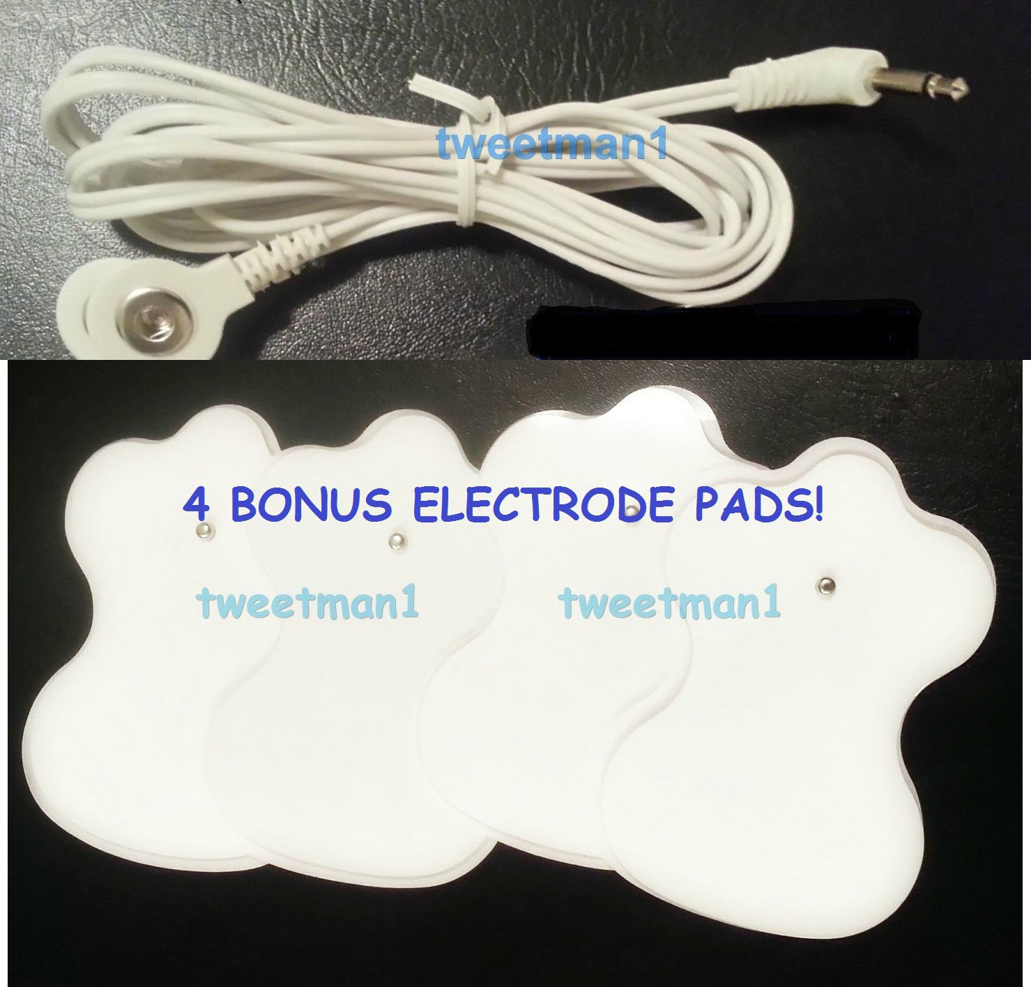 +BONUS PADS!+ 2 ELECTRODE LEAD WIRES Cable 2.5mm for Digital Massager TENS Snap
