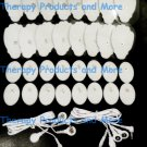 PAIR 4 WAY ELECTRODE LEAD CABLES(3.5mm)+16 LG+16 OVAL PADS FOR EROSTEK ESTIM EMS