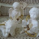 SET OF 3 WHITE WITH GOLD DECORATIONS VINTAGE CHERUB ANGEL FIGURINES