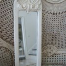 Shabby Vintage Painted Antique White French Shell Mirror