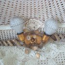 Magnificent Antique Beaded Light Fixture With Beaded Bulb Covers