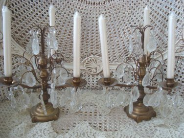 Antique Rare Pair of French Candelabra Girandoles From France