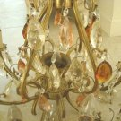 GORGEOUS LARGE ANTIQUE CHANDELIER 9 LIGHTS WITH LOTS OF CRYSTAL PRISMS