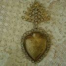 JEWELED RHINESTONES GOLD EX VOTO SACRED HEART REPRODUCTION **BEAUTIFUL**