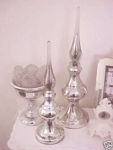 """STUNNING MERCURY GLASS HUGE 21"""" TALL FINIAL *GORGEOUS* REPRODUCTION"""