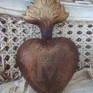 HUGE 6 INCH SHABBY EX VOTO SACRED HEART SANTOS **REPRODUCTION***