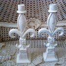 TWO SHABBY FRENCH STYLE FLEUR DE LIS PAINTED CANDLE HOLDERS ***SO PRETTY***