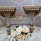 PAIR OF SHABBY GOLD FRENCH STYLE WALL SHELVES PEDESTALS ***FABULOUS***