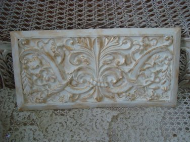 SHABBY FRENCH ORNATE FLEUR DE LIS PAINTED WALL PLAQUE ***AS IS***