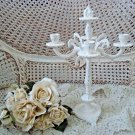 VINTAGE SHABBY FRENCH STYLE PAINTED CANDELABRA CANDLE HOLDER ***EXQUISITE***