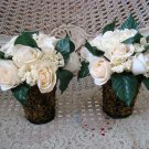 SET OF 2 SHABBY FRENCH CHIC ROSES IN WIRE BASKET FLOWER ARRANGEMENT **GORGEOUS**