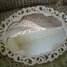 SHABBY FRENCH CHIC VINTAGE PAINTED METAL MIRROR TRAY VANITY TRAY **SO PRETTY**