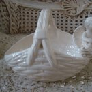 Beautiful Vintage Ceramic Basket WITH ONE CHERUB ANGEL **GORGEOUS**