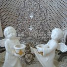 The CUTEST Two Vintage Glass Cherub Angel Statues With Sweet Faces