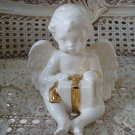 Beautiful Vintage Ceramic Angel Cherub Figurine With Present