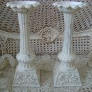SET OF TWO SHABBY FLEUR DE LIS PILLAR CANDLEHOLDERS
