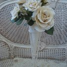 SHABBY FRENCH ORNATE TIN FLOWER CONE WITH STAND **SO PRETTY**
