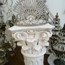 SHABBY PAINTED OLD ARCHITECTURAL SALVAGE COLUMN CAPITAL DISPLAY PIECE *AWESOME*