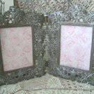 Awesome Antique Ornate Victorian Filigree Scrolly Double Frame