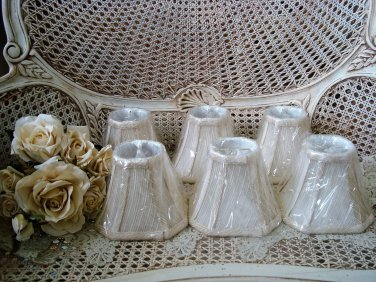 SET OF 6 MINI LAMP SHADES FOR CHANDELIERS OR SMALL LAMPS  ***BEAUTIFUL****