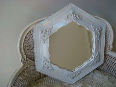 THE BEST VINTAGE SHABBY FRENCH ORNATE HEXAGON MIRROR ****BEAUTIFUL****