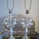 THE BEST SHABBY VINTAGE FRENCH ORNATE METAL PAINTED CANDELABRA LAMPS *EXQUISITE*