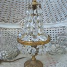 Elegant Antique French Lamp With Cascading Prisms From France