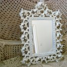 BEAUTIFUL SHABBY LARGE PAINTED ORNATE OLD METAL FRAME MIRROR ***SO CHIC****