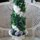GORGEOUS SHABBY FAUX FLOWER ARRANGEMENT IN SHABBY PAINTED URN ****SO PRETTY****