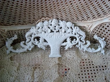 SHABBY FRENCH STYLE BASKET OF FLOWERS METAL PEDIMENT *HANG OVER A MIRROR OR DOOR