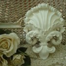 SHABBY FRENCH ORNATE CHIC FLEUR DE LIS PAINTED WALL HANGING PLAQUE