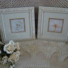 SET OF 2 SHABBY FRAMED FLOWER PICTURES WALL ART ***SO CHIC***