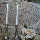 SHABBY PAIR OF PARIS MERCURY GLASS AGED CANDLEHOLDERS *WONDERFUL*