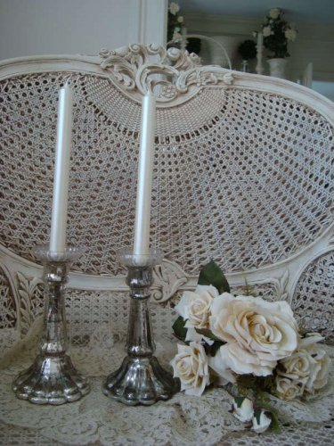 SHABBY PAIR OF PARIS MERCURY GLASS AGED CANDLEHOLDERS *WONDERFUL*