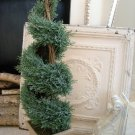 """SHABBY LARGE SPIRAL FAUX TOPIARY PLANT IN CERAMIC POT 32"""" TALL FRENCH CHIC"""
