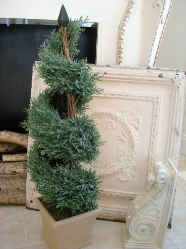 "SHABBY LARGE SPIRAL FAUX TOPIARY PLANT IN CERAMIC POT 32"" TALL FRENCH CHIC"