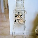 SHABBY PAINTED ORNATE LARGE METAL DECORATIVE BIRD CAGE ON STAND ***SO PRETTY***